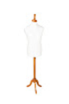 Wooden Base and Neck Male Display Bust-Cream