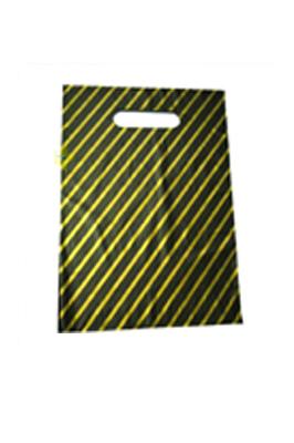 """Black & Gold Stripe Patch Handle Bags 22"" x 18"" + 4"" (40 Micron)"
