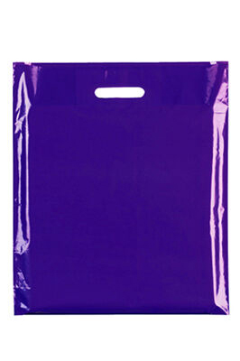 """Coloured Patch Handle Bags 10"""" x 12""""+2"""" (40 Micron) Blue"""