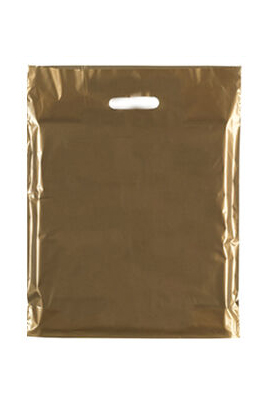 """Coloured Patch Handle Bags 10"""" x 12""""+2"""" (40 Micron) Golden"""