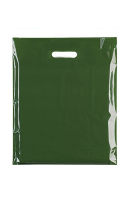 """Coloured Patch Handle Bags 10"""" x 12""""+2"""" (40 Micron) Green"""