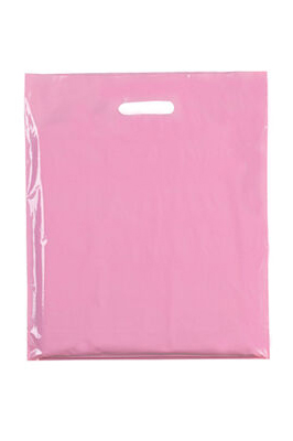 """Coloured Patch Handle Bags 10"""" x 12""""+2"""" (40 Micron)  Light Pink"""