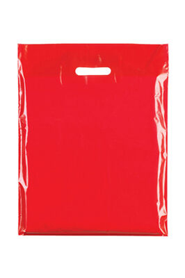 """Coloured Patch Handle Bags 10"""" x 12""""+2"""" (40 Micron) Red"""